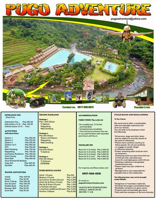 PUGAD ADVENTURE PRICE LIST